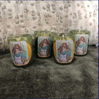 votive candles with illustrated mermaid labels