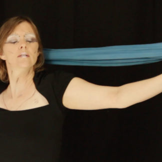 Heather Dale dancing with a blue silk scarf